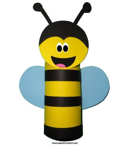 Un'ape da realizzare con il rotolo/tubo della carta igienica e fogli di carta colorata. LAVORETTO CON IL TUBO DI CARTA IGIENICA Ape Materiale: cartoncini c