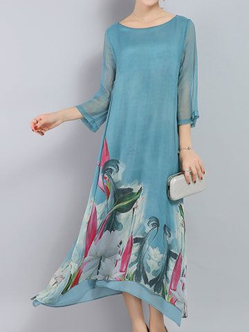 Vintage Printed Irregular Hem 3/4 Sleeve Women Mid-Long Dresses Shopping Online - NewChic Mobile.