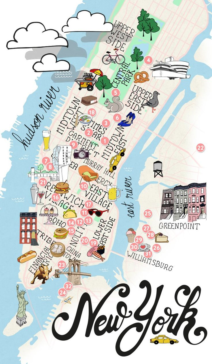 NYC - Manhattan & Brooklyn map of New York
