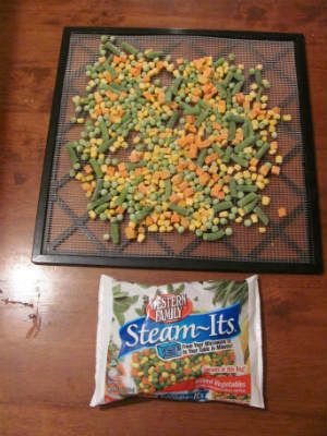 dehydrate frozen vegetables- Take up less space!