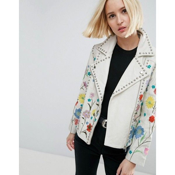 ASOS Floral Embroidered Leather Biker Jacket featuring polyvore, women's fashion, clothing, outerwear, jackets, white, white biker jacket, white jacket, biker jacket, real leather jackets and studded leather jacket