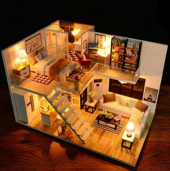 Assemble DIY Doll House Toy Wooden Miniatura Doll Houses Miniature Dollhouse toys With Furniture LED
