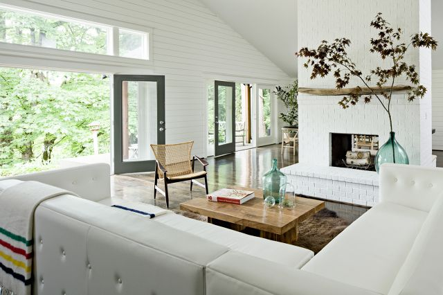 Brush Prairie   JETTE Creative: Modern Living Rooms, Floors Plans, White Living, Window, Open Spaces, Interiors Design, House, Contemporary Living Rooms, White Brick Fireplaces