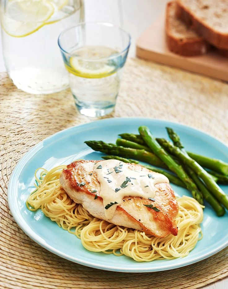 A picky-eater proof pasta dish the kids will love. Serve chicken breast atop angel hair pasta with a creamy ranch and dijon mustard sauce. Moms swear by this dish ready in 20 mins.