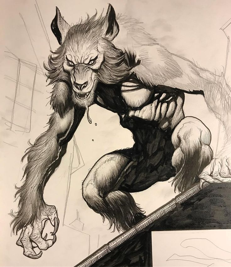 Another late night of drawing  and inking. Tonight, working on the werewolf sequence in my next creator-owned project . #frankchoartist #werewolf #horror #wolfman #inking