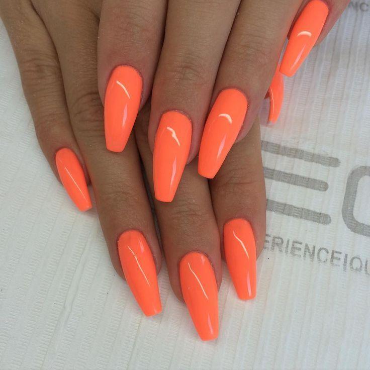 Orange Coffin Nails Summernailsgel Orange Acrylic Nails Fall Acrylic Nails Orange Nails