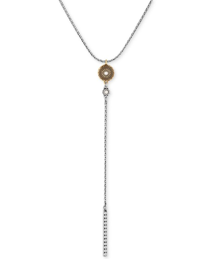 Lucky Brand Two-Tone Imitation Pearl Lariat Necklace