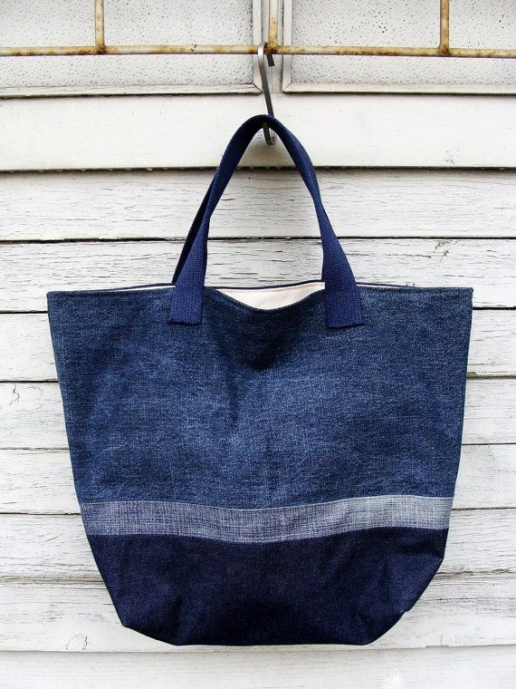 Big Denim Tote Bag 12  upcycled vegan bag jeans bag by Nudakillers