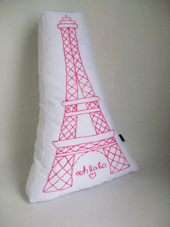 Embroidered Paris Pillow Eiffel Tower by kmariemarsh on Etsy, $40.00