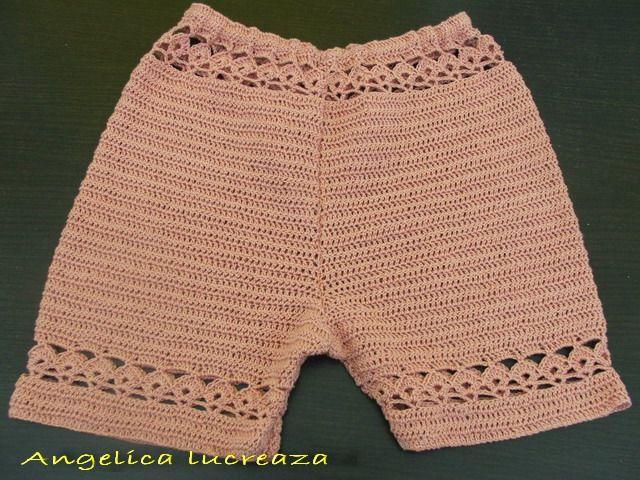 Angelica lucreaza: Pantaloni scurti crosetati