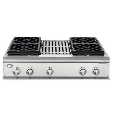 GE Monogram 36 Pro Gas Cooktop with 4 Burners and Grill #ZGU36N4RH1SS