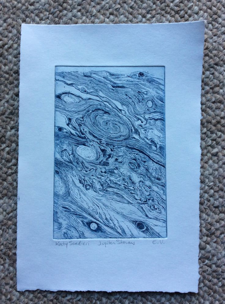 Jupiter Storms, Katy Scudieri Hard ground etching, Prussian blue ink