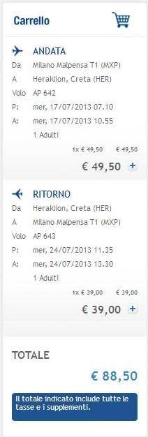 Air One: voli estivi per le Isole Greche da € 88 a/r