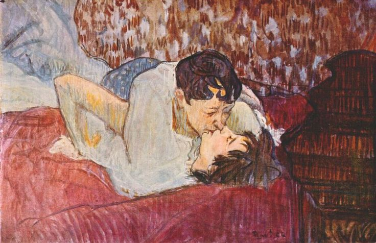 Henri de Toulouse-Lautrec (Fr. 1864-1901) The Kiss / Dans le lit: Le baiser (1892/1893) thinned oil on cardboard (39 x 58 cm) Private Collection