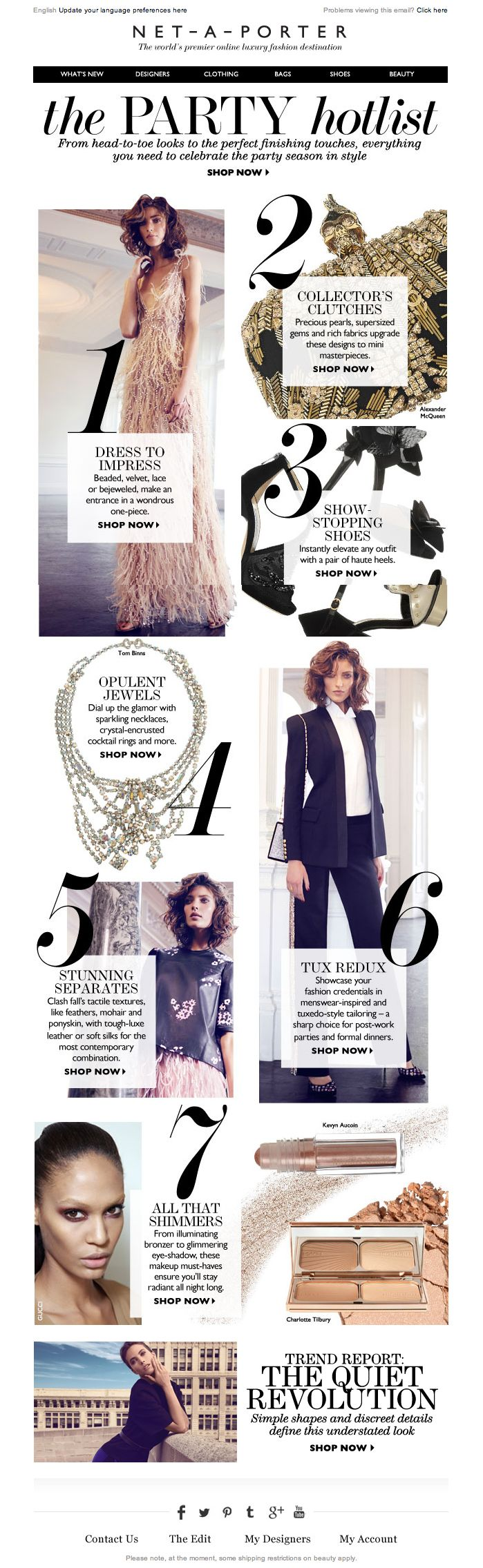 #newsletter Net-a-porter 11.2013  7 steps to perfecting your party look