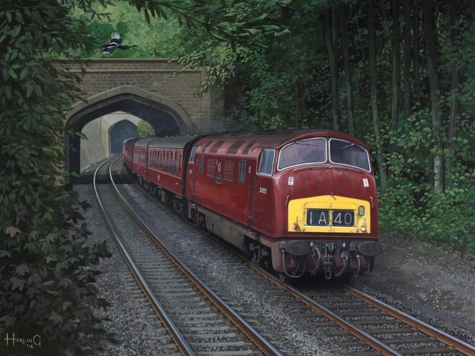 """Nick Harling'Two For Joy' Gouache on board, 16"""" x 12"""" Nick Harling (Associate of the GRA) Powering through Twerton Short Tunnel at the head of a Weston-super-Mare to Paddington express is Warship class diesel-hydraulic D829 'Magpie'."""