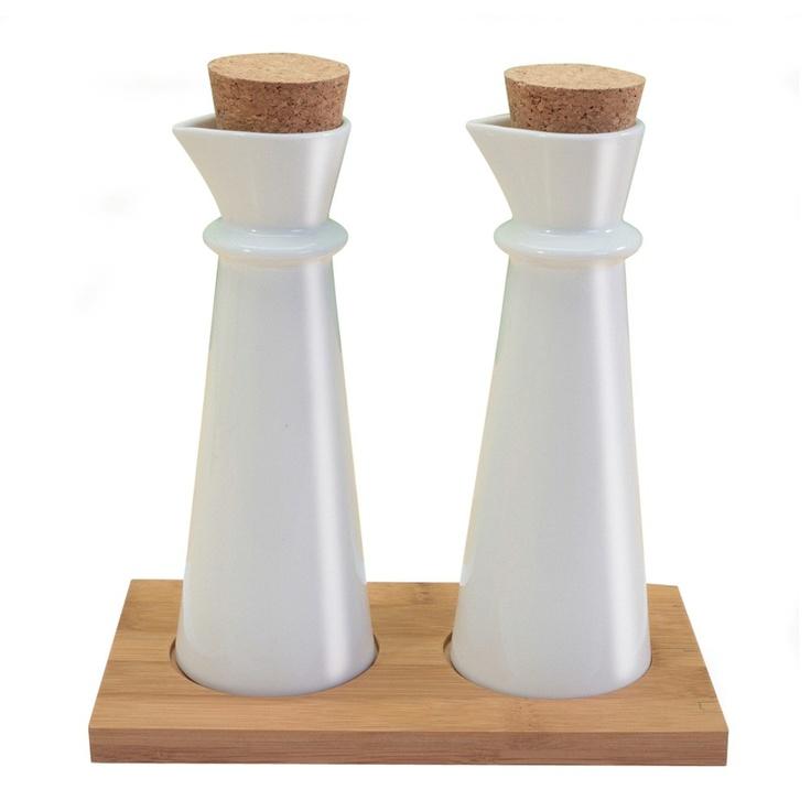Danesco White Bamboo Oil & Vinegar Set