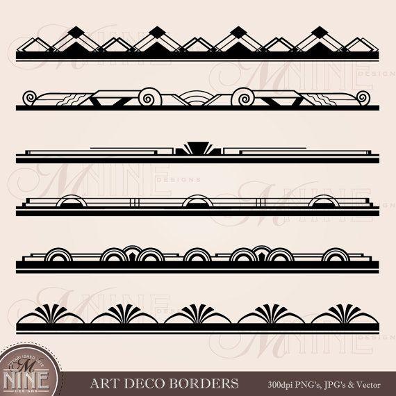 ART DECO BORDERS Design Elements Digital Clipart Edges, Instant Download, Vintage Antique Clip Art
