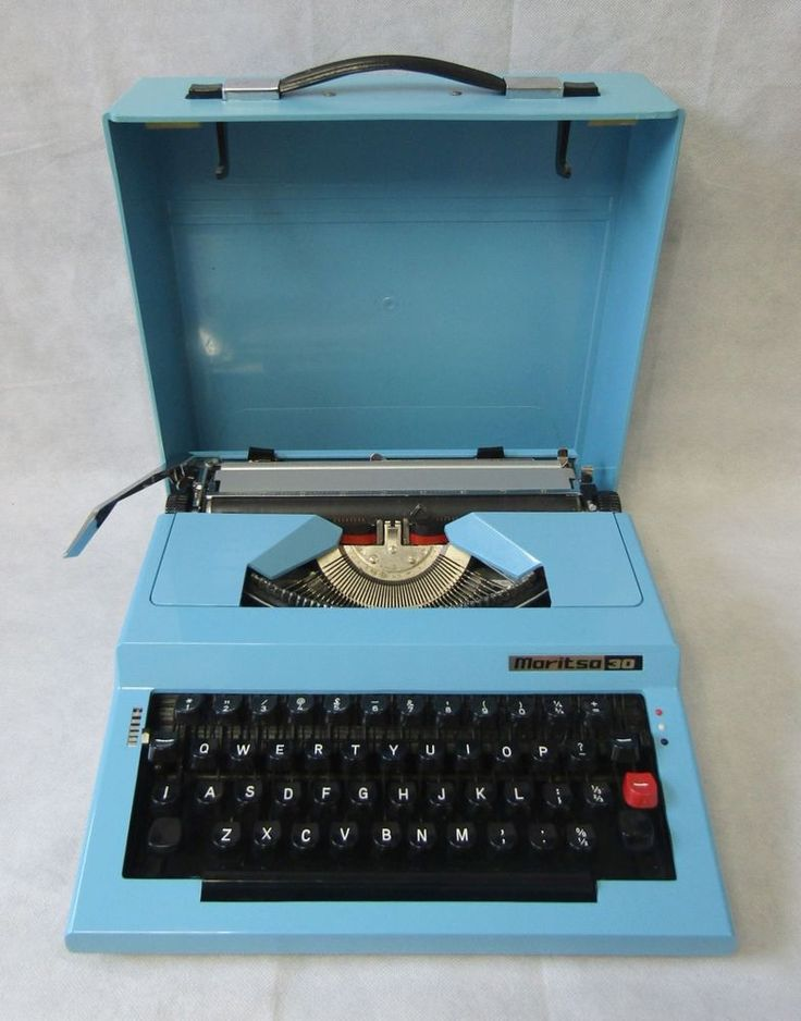 Vintage Retro 1970s Maritsa 30 Blue Portable Typewriter & Case FWO, New Ribbon