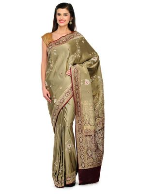 Golden green Jardozi embroidery satin Hand woven saree with blouse 60% Off, Buy now @ Rs 11707