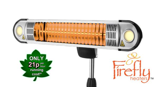 Firefly™ 1.5kW Halogen Bulb Electric Infrared Heater with Easy Fit Wall Mount, Remote Control and Freestanding Pole £124.99