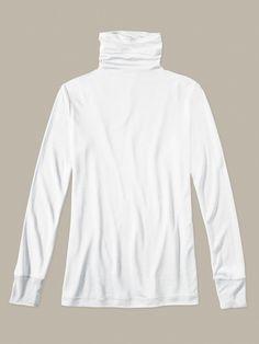 Silk Long Underwear: Ladies' Long Sleeve Funnel Neck Top in Lightweight Spunsilk