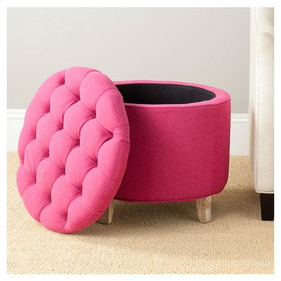Safavieh Amelia Upholstered Storage Ottoman | Wayfair.ca Practical, pink and fashion forward, this ottoman is striking in a living room, family room or master suite.