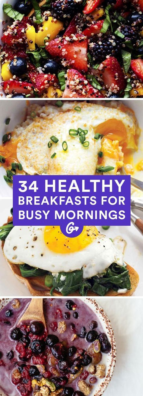 We picked 34 of the best, healthiest breakfast options (perfect for packing as snacks too)! #healthy #breakfast #recipes http://greatist.com/health/healthy-fast-breakfast-recipes