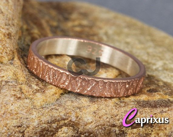 Handcrafted Wood Bark Tree Bark Texture Ring 18K Rose by caprixus