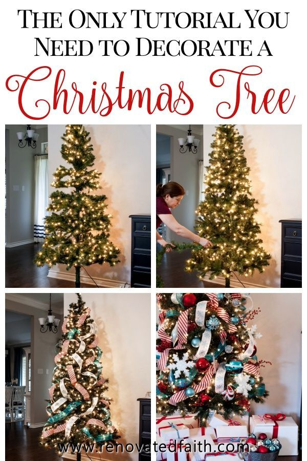 Decorate A Christmas Tree Step By Step Ribbon On Tree Ideas Hacks Christmas Tree Decorating Tips Ribbon On Christmas Tree Fake Christmas Trees