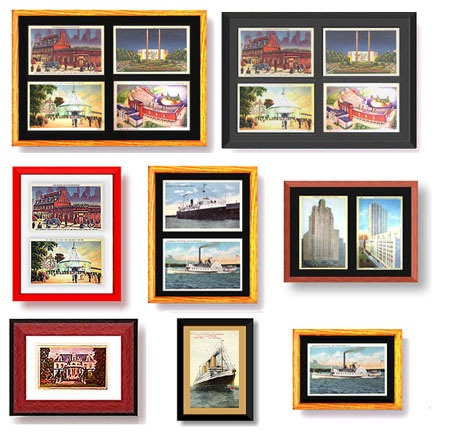 a wall of framed postcards
