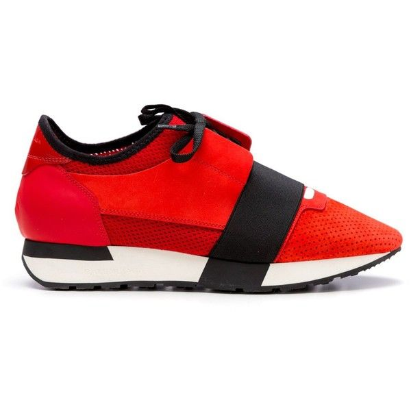 Balenciaga Sneakers ($445) ❤ liked on Polyvore featuring shoes, sneakers, red, red sneakers, balenciaga trainers, lace up shoes, rubber sole shoes and lace up sneakers