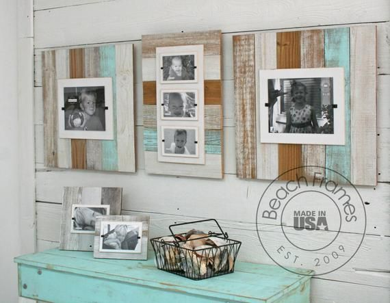 Farmhouse Home Decor White Turquoise Triple Reclaimed Wood Picture Frame Three 4x6 Or 5x7 Pictures Wedding Gift Triple Picture Frame Picture On Wood Reclaimed Wood Picture Frames Wood Picture Frames
