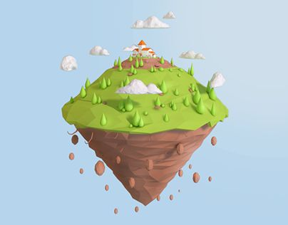 """Check out new work on my @Behance portfolio: """"Low Poly Floating Island""""…"""