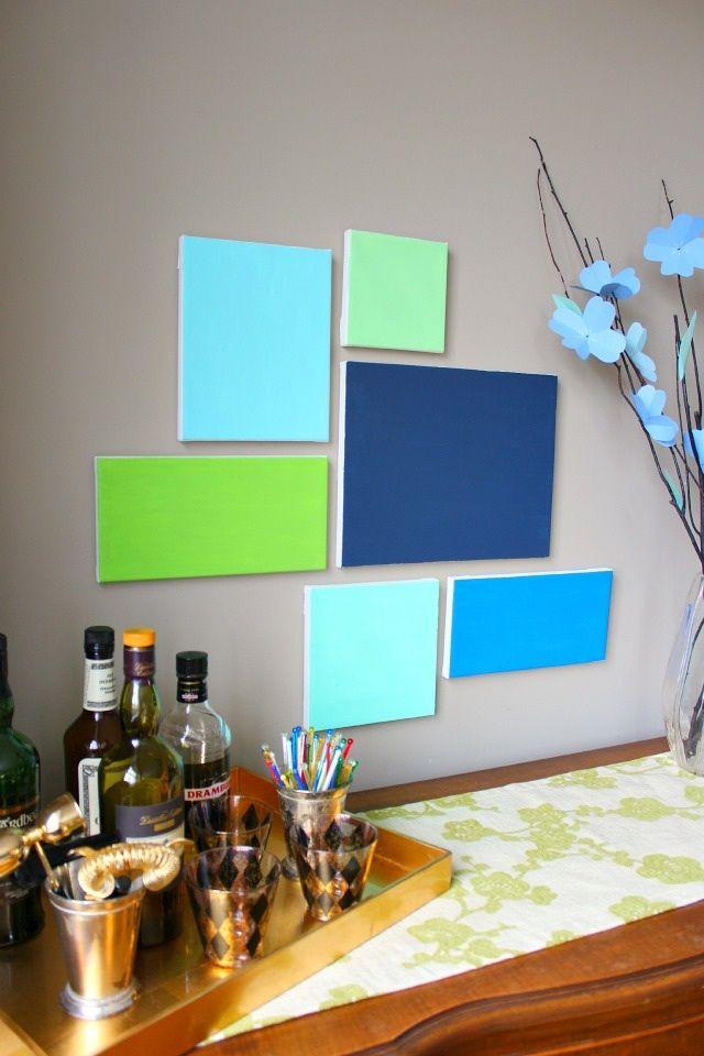 Cute canvas paint idea for wall decor canvas painting for Multi canvas art diy