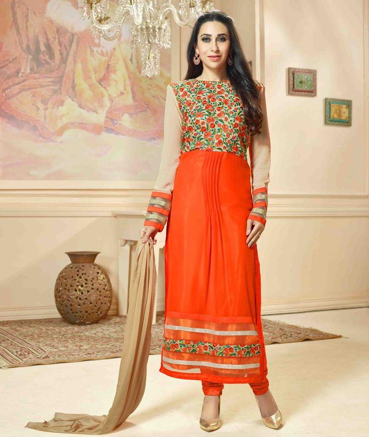 Karisma Kapoor Georgette Orange Printed Semi Stitched Straight Suit - 575M