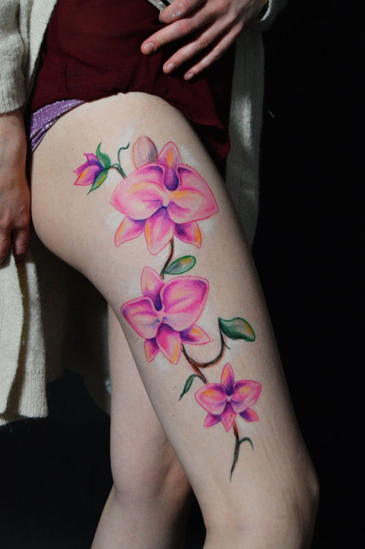 pink orchid tattoo Buscar con Google (With images) Leg