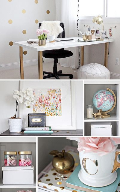 Gold Pink Home Office By Justbellablog Via Flickr