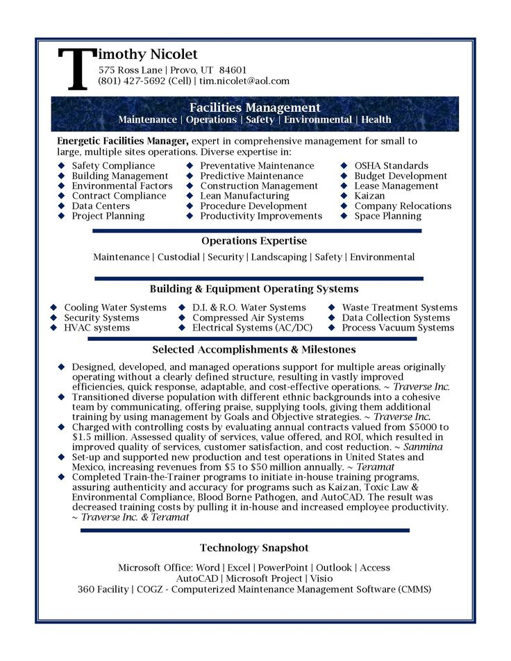 resume samples | Professional Facilities Manager Resume sample