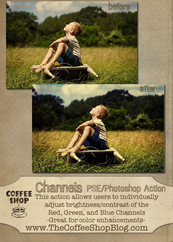 CoffeeShop Channels Photoshop/PSE free action!