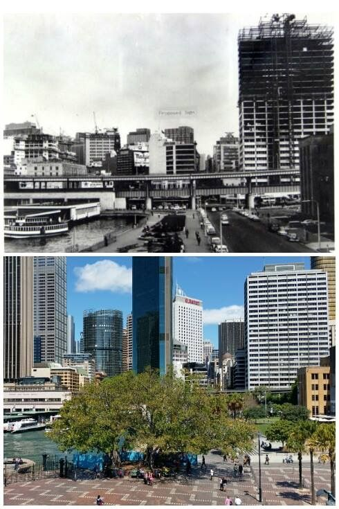 View looking south from Circular Quay West towards the CBD c1964 > 2016 [City of Sydney Archives > Allan Hawley. By Allan Hawley]