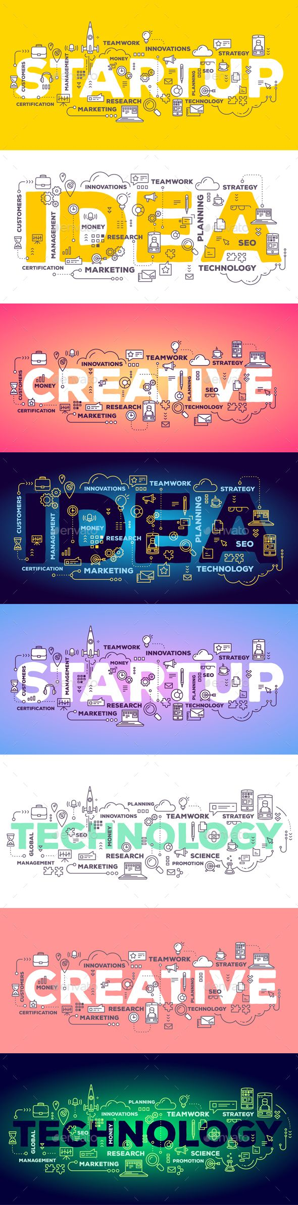 Set of Illustrations with Business Words - Backgrounds Business