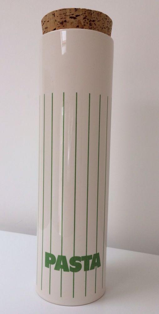 Hornsea Pottery Vintage Retro Green Stripe Cork Lid Pasta Jar See Description