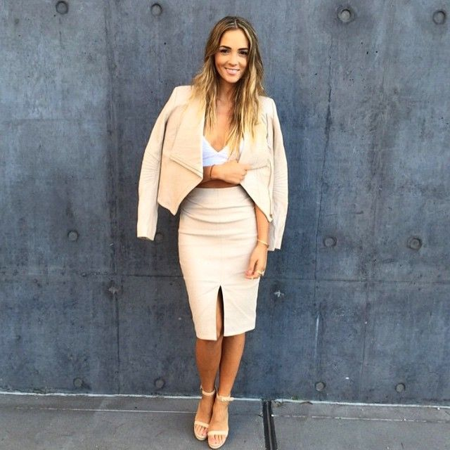 How amazing does @aisha_jade look wearing the Hero Jacket, Everyday Bralette, Sloane Skirt and Yvette Heels at the A/W Runway Show!