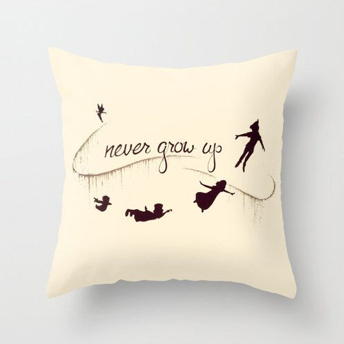 Peter Pan Never Grow Up Cushion Throw Pillow Various Sizes by AlixInsanity on Etsy