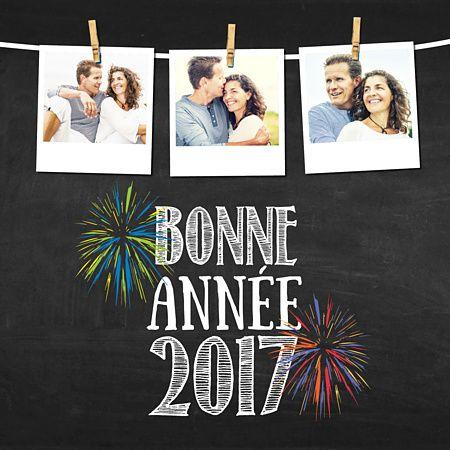 Carte de voeux français placés sous le signe de la fête avec ces feux d'artifice sur fond d'ardoise ! Rajoutez quelques photos de famille ou de vos plus beaux souvenirs de l'année pour parfaire votre création 2017 !