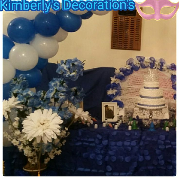 #Decoration's #Graduation #blue #white #tablecloth's #balloons #NJ #Clubdecoration #bluessasha#class #of #2016#flower#boquet#pedal#flowers#tablecloth'...