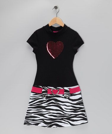 Take a look at this Black & White Heart Zebra Dress - Toddler & Girls by Zunie & Pinky on #zulily today!
