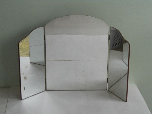 Antique Tri-Fold Vanity Make-Up Mirror Wall Hanging or Stand Alone by whitefarmhouse on Etsy https://www.etsy.com/listing/495071758/antique-tri-fold-vanity-make-up-mirror