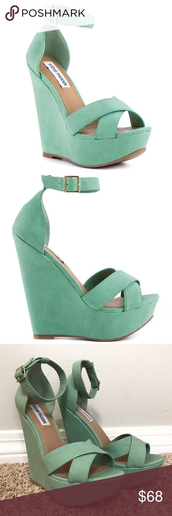 Steve Madden NEW 9.5 mint green wedge heels Never worn Steve Madden size 9.5 mint green wedge heels with adjustable ankle straps. In perfect condition, but without their original box. They are very pretty, but I have never been adventurous enough to wear them. I wear a size 9 in most brands but a 9.5 in this shoe. The total height from the floor to the bottom of the heel is 6 inches. These will make your calves look 👌🏼 Steve Madden Shoes Wedges